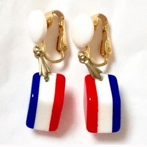 Patriotic Red White Blue American Earrings Clip On